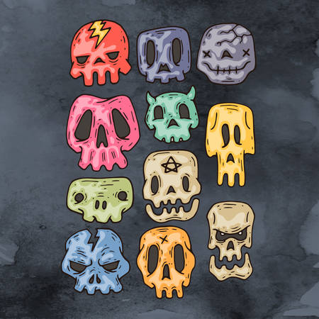 sorceress: Set Of Cartoon Halloween skull. Halloween Stickers Set. Cartoon Icons.