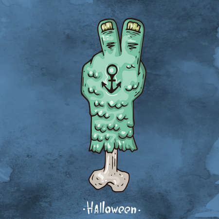 Happy Halloween Cartoon illustration. Severed hand Merman.