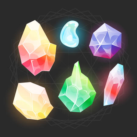 Illustration of a set of glossy and bright gems stones, minerals and jewels icons for web and app