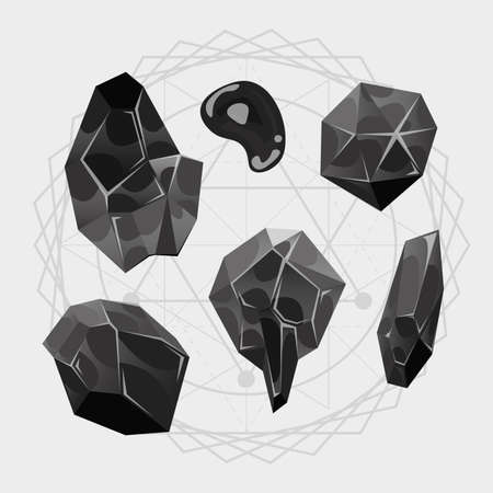 Illustration of a set of black gems stones, minerals icons for web and app