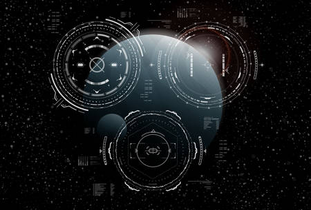 Head-up display elements for the Spaceship interface. Futuristic user interface. Illustration