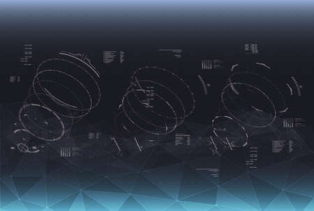 Head-up display elements for the Spaceship interface. Futuristic user interface. HUD elements for web and app interfaces.