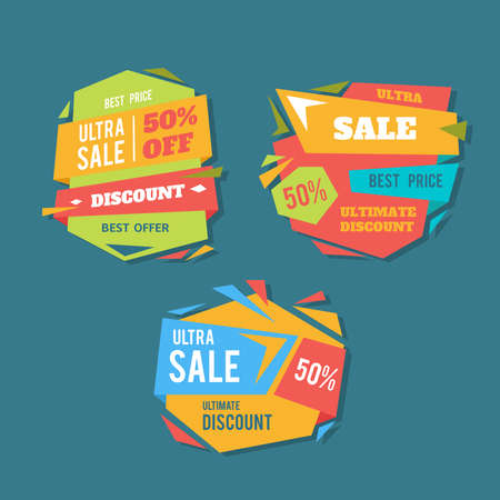 paper hanger: Sale badges and special offer tags. creative banners for web and print. Stock Photo