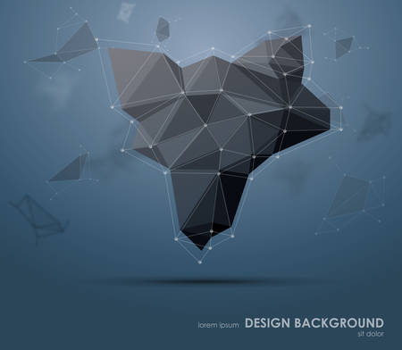 Low polygon geometry elements. Abstract geometric background. Minimal Style Art.