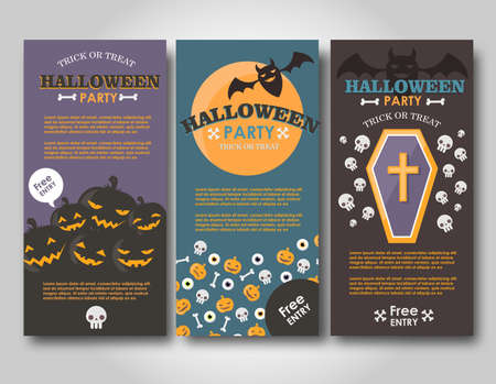 Halloween Banners Set. Flat Halloween illustration for web and print.
