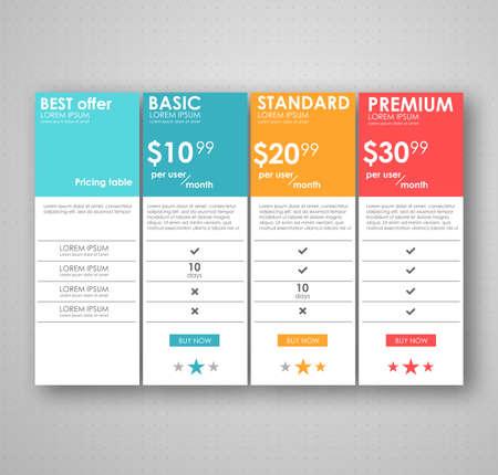 Set Preis Tisch, Bestellung, Box, Button, Liste mit Plan für Website in flachen Design