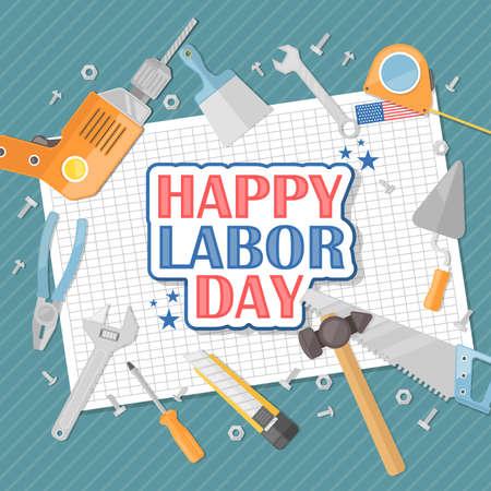 Gelukkige dag van de arbeid Amerikaanse. Vlakke afbeelding
