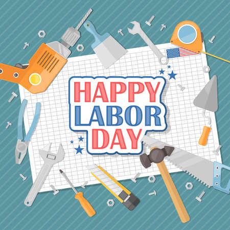 Happy Labor day american. Flat illustration
