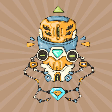 Cartoon robot head. vector illustration for web and print. Illustration