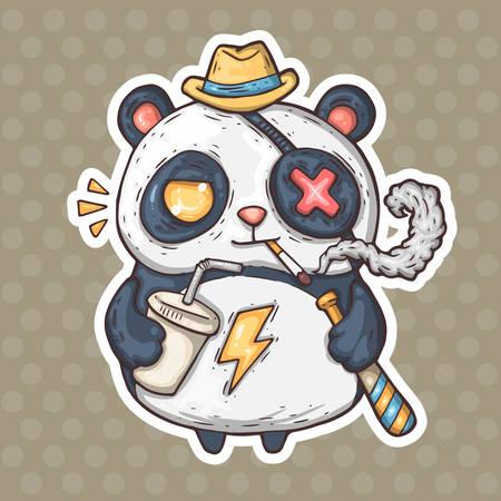 cartoon rokende panda