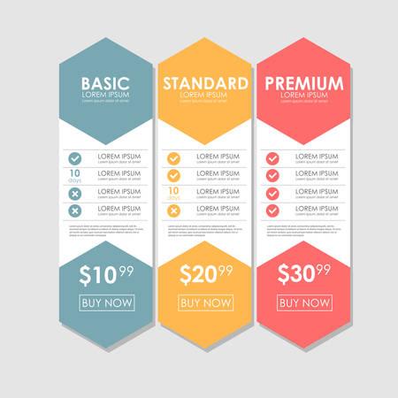 web site design template: Set offer tariffs. ui ux vector banner for web app. set pricing table, order, box, button, list with plan for website in flat design Illustration