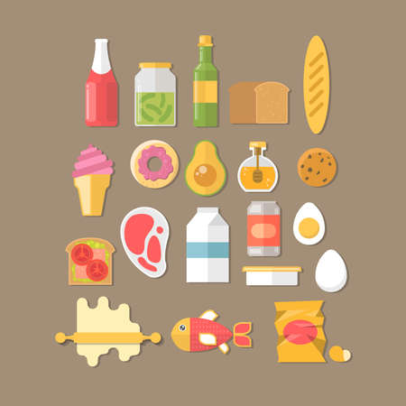 breakfast illustration with fresh food and drinks Illustration