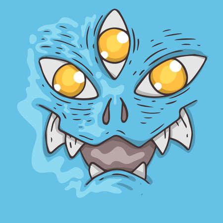 Cartoon monster face. Halloween illustration. Cartoon creature for web and print.