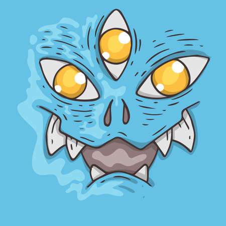 Cartoon monster face. Halloween illustration. Cartoon creature for web and print.