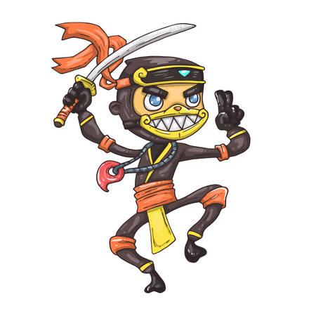Cartoon ninja with a sword vector illustration for web and print.