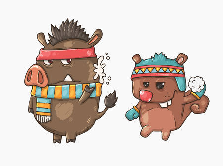 subculture: Boar and squirrel playing snowballs. Cartoon vector illustration for web and print. Illustration