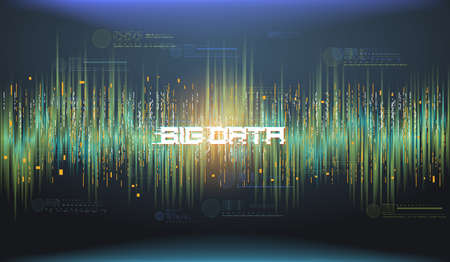 Big data abstract visualization. Futuristic aesthetic design. Big data background with HUD elements. Illustration