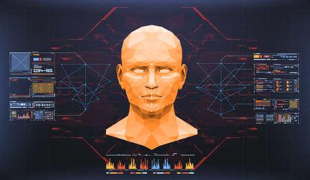 Concept de balayage du visage. Technologie biométrique de reconnaissance faciale précise et concept d'intelligence artificielle. Interface HUD de détection de visage. Banque d'images - 94472254