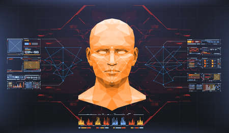 Concept van het scannen van gezichten. Nauwkeurige biometrische technologie voor gezichtsherkenning en kunstmatige intelligentie. Gezichtsherkenning HUD-interface. Stock Illustratie