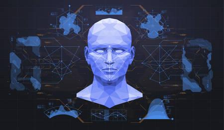 얼굴 검색의 개념입니다. 정확한 얼굴 인식 바이오 메트릭 기술 및 인공 지능 개념. 얼굴 검출 HUD 인터페이스.