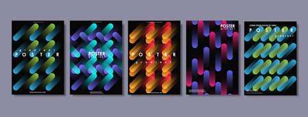 Covers met plat geometrisch patroon. Abstracte kleurrijke achtergronden. Van toepassing op banners, posters, posters en flyers. Creatieve vector sjabloon voor web en print.