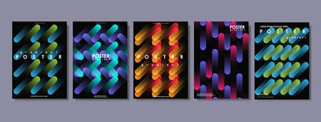 Covers with flat geometric pattern. Abstract colorful backgrounds. Applicable for Banners, Placards, Posters, Flyers. Creative vector template for web and print.