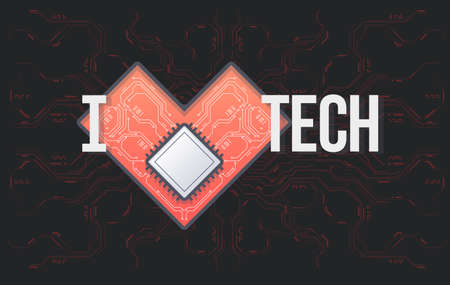 Vector circuit board background with heart. Technology concept template with an inscription I love Tech. Abstract electronic circuit board in shape of heart.