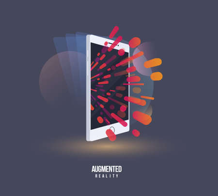 Augmented Reality Visual Technology. Stylized icon of a new device virtual augmented reality. Vector illustration digital AR technology future.