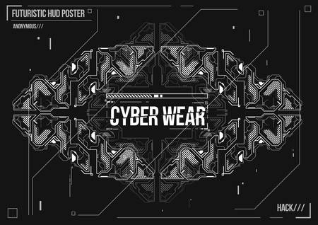 Cyberpunk futuristic poster. Retro futuristic poster template. Electronic music layout. Modern club party flyer.