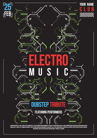Cyberpunk futuristic poster. Retro futuristic poster template. Electronic music layout. Modern club party. Illustration