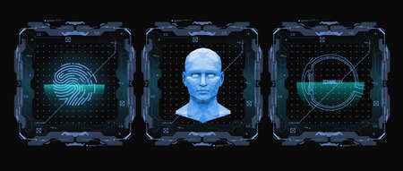 Concept of face scanning. Accurate facial recognition biometric technology and artificial intelligence concept. Face detection HUD interface. Vector illustration. Çizim