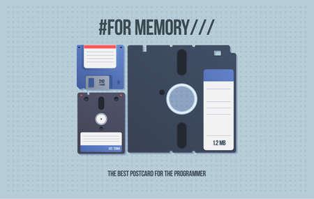 古いメディアを含むギフトカード。フロッピー ディスクとフロッピー ディスク。漫画のスタイルでコンピュータのコンピュータメディア。