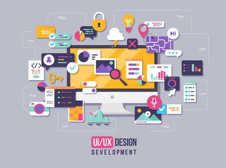 The process of developing interface for pc. Flat design template for mobile app and website design development with included UI UX elements. Vectores
