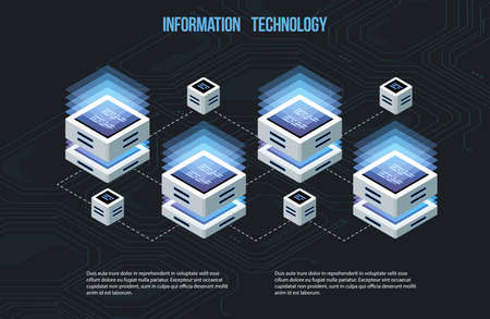 Concept of big data processing, Isometric data center, vector information processing and storage. Creative illustration with abstract geometric elements. Imagens - 102123767