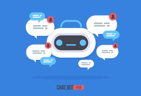 Icône de robot mignon avec bulle de dialogue Service de soutien chat bot Vector personnage de dessin animé plat moderne Aide de chat intelligent.