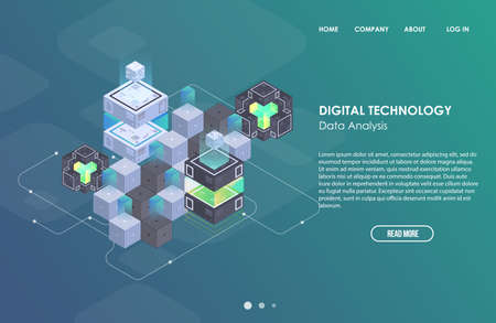 Concept of big data processing, Isometric data center, vector information processing and storage. Creative illustration with abstract geometric elements. Illustration