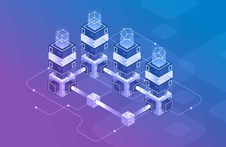 Concept of big data processing, Isometric data center, vector information processing and storage. Creative illustration with abstract geometric elements. Stock Illustratie