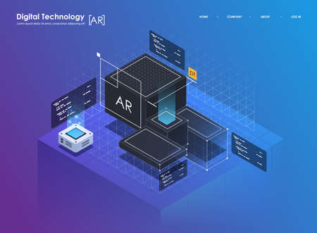 Isometric design concept virtual reality and augmented reality. AR and VR Development. Digital Media Technology for website and mobile app.