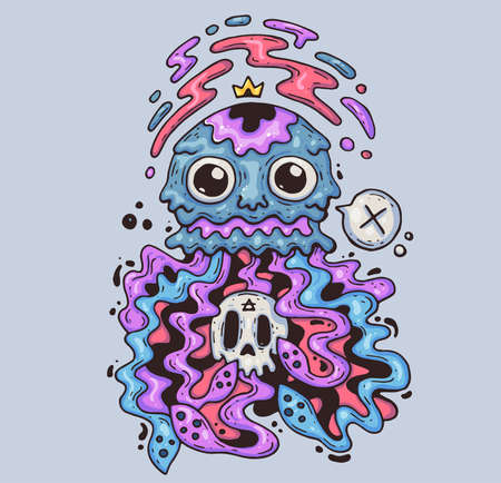 Mad jellyfish with a skull. Cartoon illustration for print and web. Character in the modern graphic style.