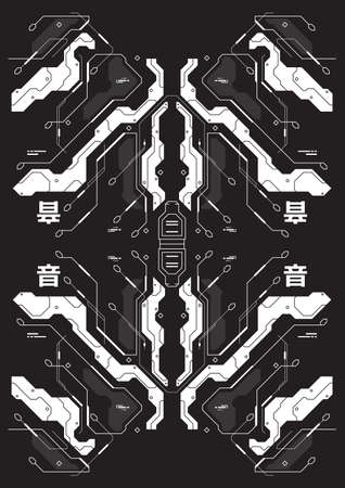 Cyberpunk futuristic poster with japanes style elements. Tech Abstract poster template. Modern flyer for web and print.