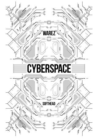Cyberpunk futuristic poster. Tech Abstract poster template. Modern flyer for web and print.