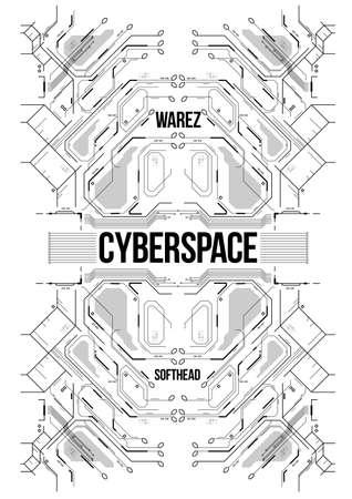 Cyberpunk futuristische poster. Tech abstracte poster sjabloon. Moderne flyer voor web en print.