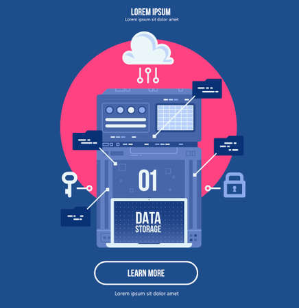 Data network management. Big data machine learning algoritm visualization. analytics concept saftey and security concept. Flat illustration style. Vektorové ilustrace