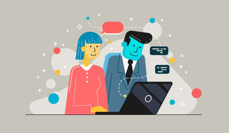 Startup business partners working together in desktop. Young businesswoman explains to colleague a new project. Illustration in modern flat style.