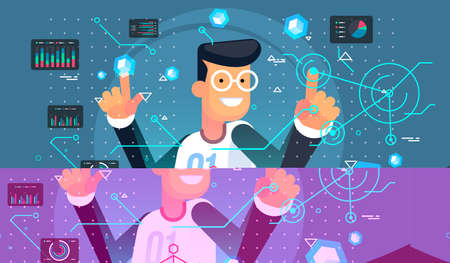 Virtual reality user. VR tech illustration. Futuristic user interface. Illustration