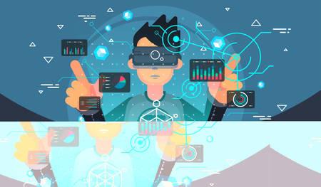 Virtual reality user. VR tech illustration. Futuristic user interface. Иллюстрация