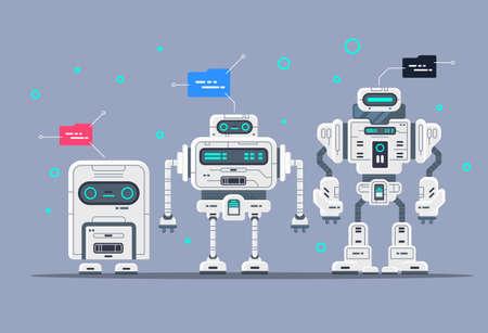 Evolución de los robots Etapas del desarrollo de androides, robots modernos, estilo de dibujos animados.