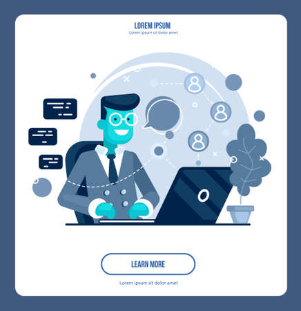Code concept illustration of student using laptops for developing programs and app. Software concept. Vector illustration flat design. Programmer, coder, hacker Иллюстрация