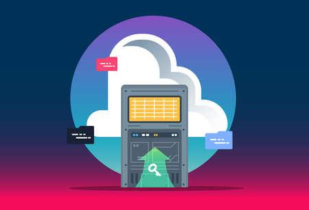 Cloud computing technology. Data center with hosting server racks. Website banner of business cloud computing. Modern vector illustration for web design.