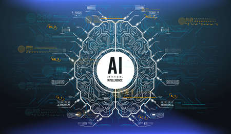 Futuristic design of an Artificial Intelligence brain with futuristic hud elements. Abstract glowing colorful digital brain with circuit background. AI and technology concept.